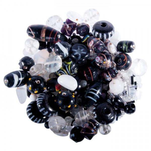 Glasperlen-Mix ca. 2-20mm 250g schwarz-weißtöne Lochgr. ca. 0,7-2mm