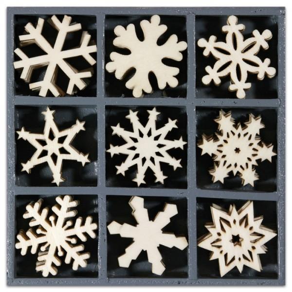 Mini-Holzornamente Kristalle 45 St. natur 23-30mm