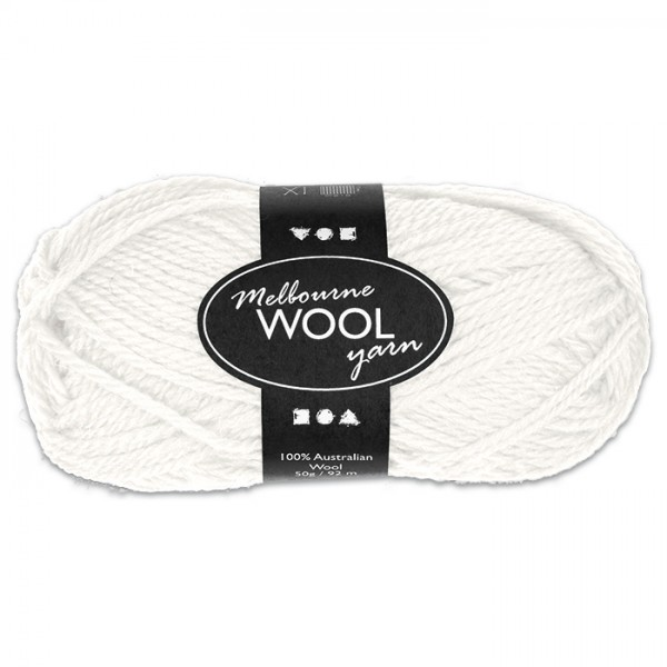 Garn Melbourne Filzwolle 50g creme 100% Wolle, LL 92m, Nadel Nr. 4