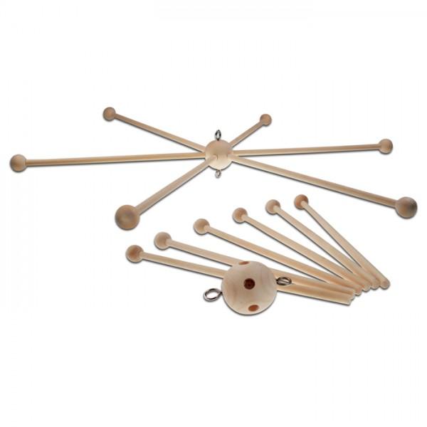 Mobile-Stern mit 6 Armen Holz Ø 40cm natur inkl. 2 Aufhängeösen