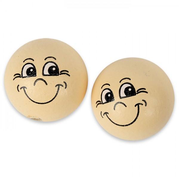 Holzkugeln Smiley Ø 22mm 10 St. hautfarben halbgebohrt