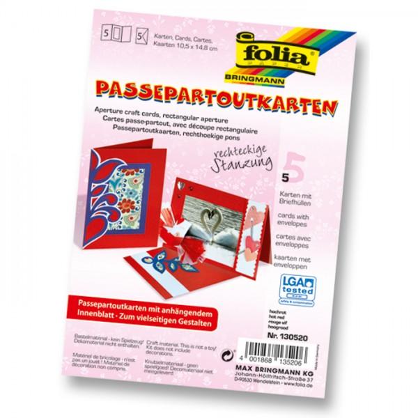 Passepartoutkarten DIN A6 5 St. Rechteck hochrot inkl. Kuvert&Einlegeblatt, 220g/m²