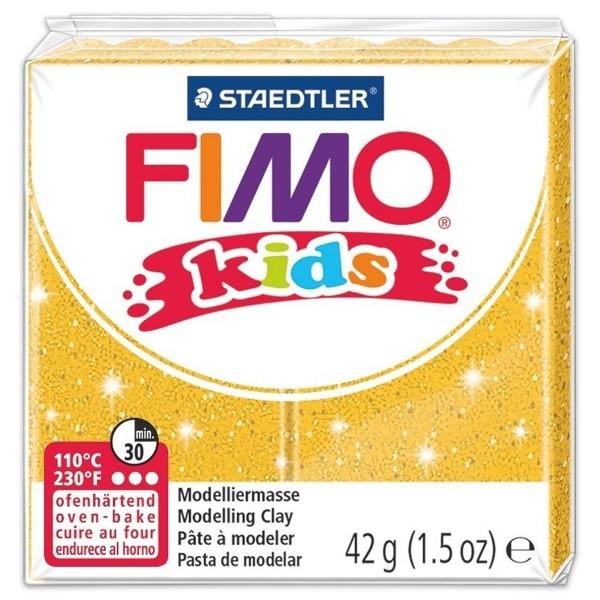 FIMO kids 55x55x10mm 42g glitter goldfarben ofenhärtende Modelliermasse