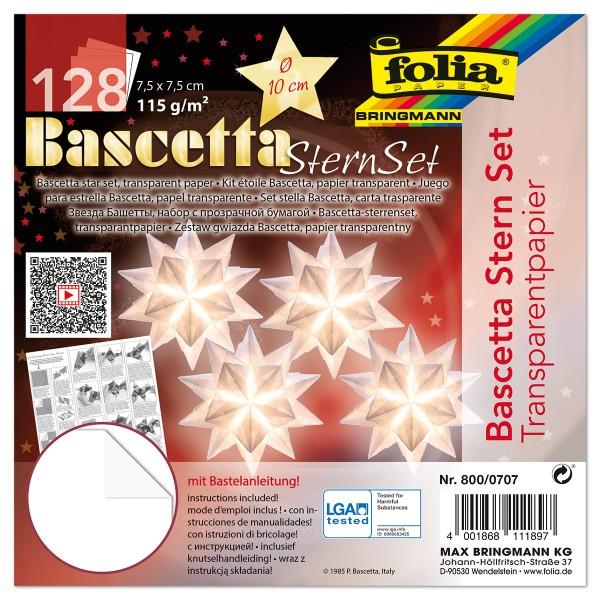Bascetta-Stern ca. Ø 10cm 128 Bl. weiß 7,5x7,5cm, Transparentpapier, 115g/m²