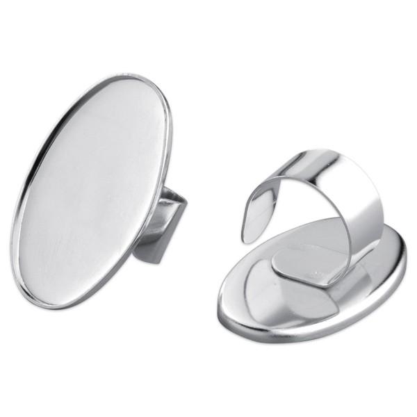 Ring für Modelliermasse ca. 25x40mm oval silberfarben Metall