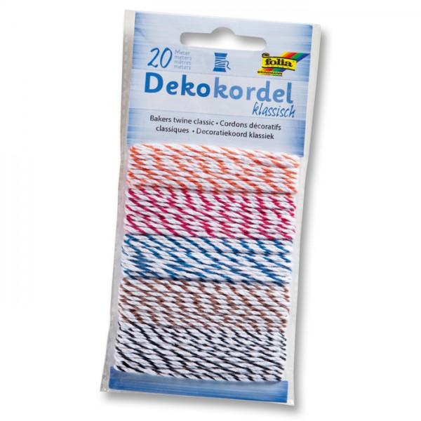 Dekokordel 5 St. à 4m zweifarbig klassisch 100% Baumwolle