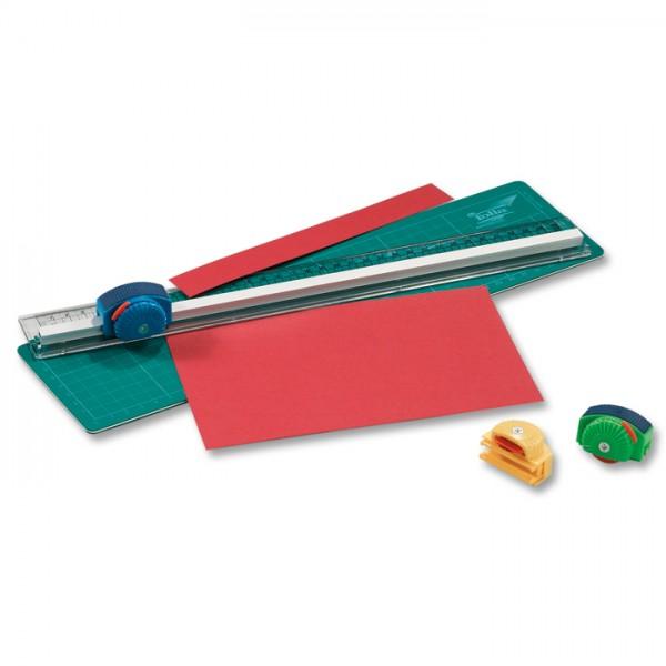 Schneidlineal-Set Lineal 35cm 3 Schneidroller Glatt-/Wellen-/Perforierschnitt, Matte: 36x8cm