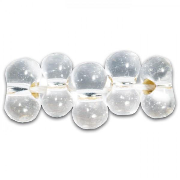 Farfalle Farbeinzug 6,5mm 17g cristall silber Glas, Lochgr. ca. 1mm