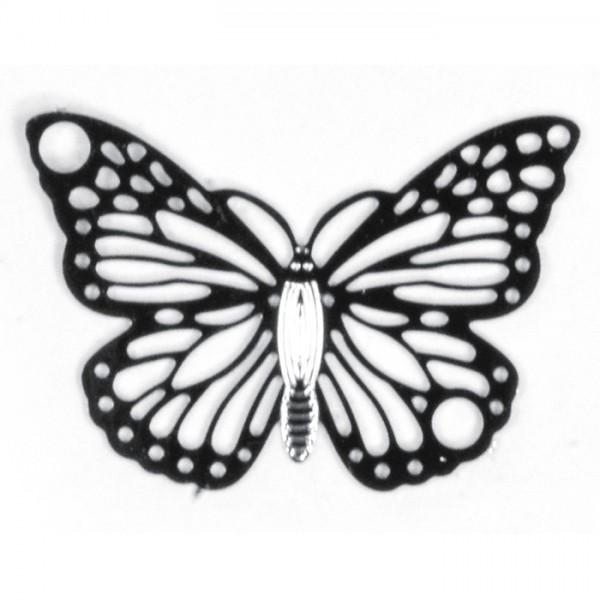 Metallzwischenteil Schmetterling ca. 19x13mm platinfarben Lochgröße ca. 1,5mm