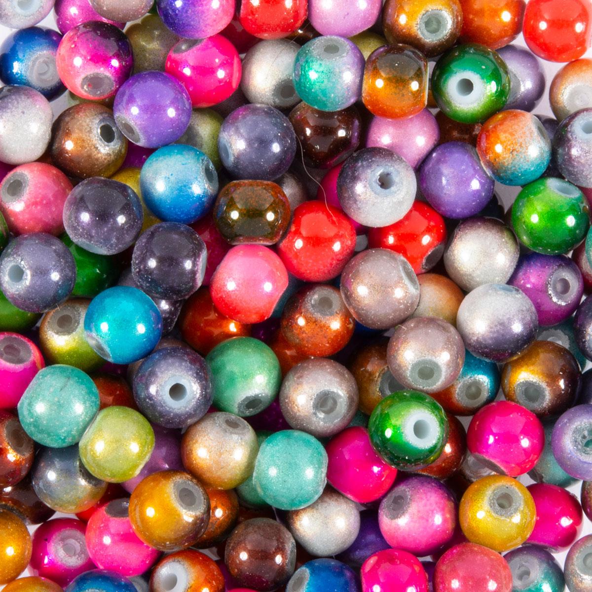 Glaswachsperlen Perlen grün pastell glänzend 6 mm 130 Stück Schmuck Basteln 61