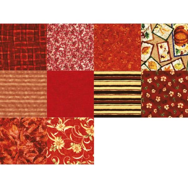 Patchwork-Set 10 Zuschnitte à 45x55cm ziegelrot 100% Baumwolle, 140g/m²