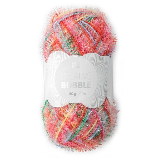 Creative Bubble Wolle 50g ca. 90m multicolor Nadel Stricken Nr. 2, Häkeln Nr. 4, 100% Polyester