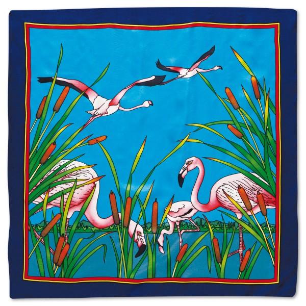 Tuch Gutta schwarz 90x90cm Flamingos 100% Seide Pongé 09, naturweiß