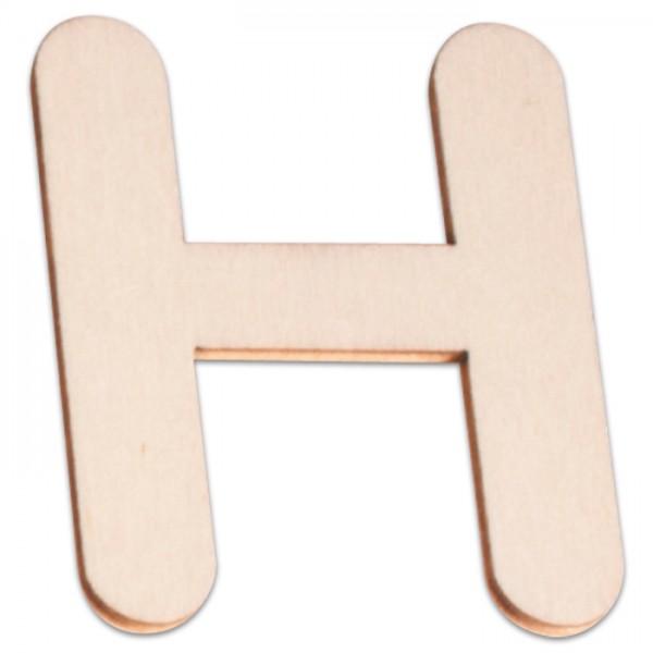 Holzbuchstabe H ca. 3mm 6cm hoch natur