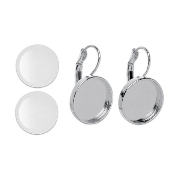 Ohrringe mit Brisur Ø 18mm 2 St. silberf. rund Metall/Glas