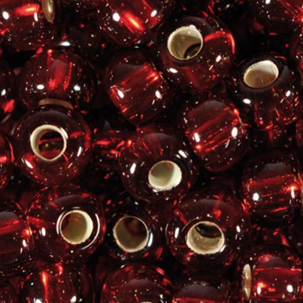 Rocailles transparent 4,5mm 500g dunkelrot Silbereinzug, Glas, Loch ca. 1mm