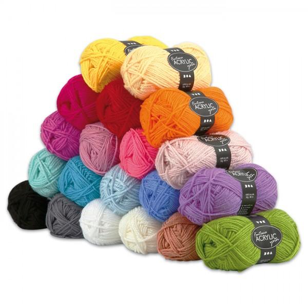 Fantasia Acryl-Wolle Sortiment 20 Farben à 50g 100% Polyacryl, für Nadel Nr. 4