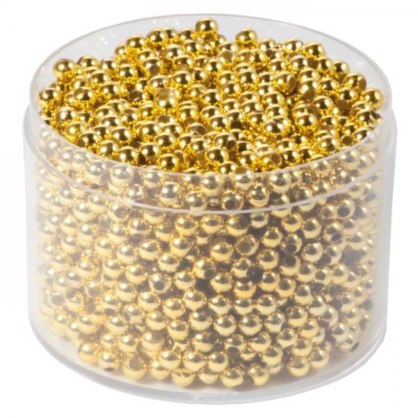 Wachsperlen 4mm 50g ca. 1.600 St. goldfarben Kunststoff, Lochgr. ca. 1,5mm