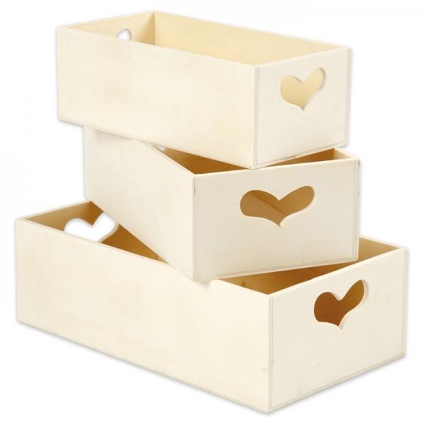 Aufbewahrungsboxen Holz Griff herzförmig 3 St. 20,5x11,5x6,3/18x9,8x5,8/15,8x7,8x5,5cm
