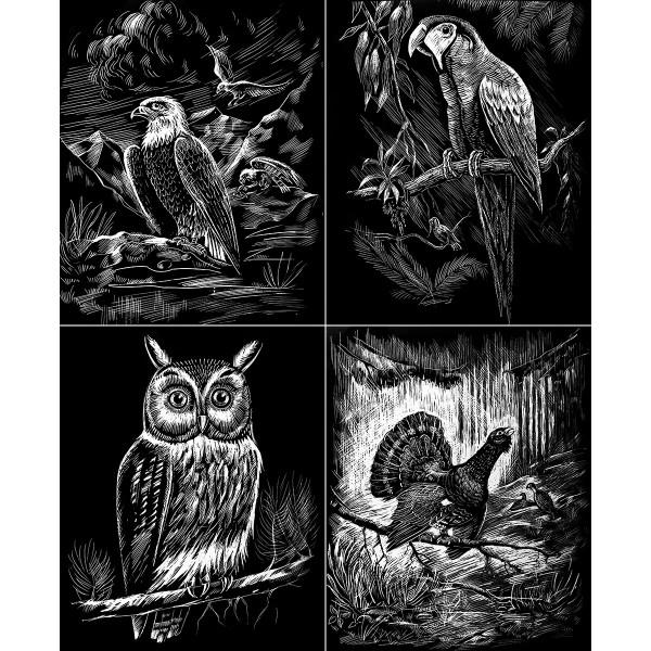 Kratzbilder-Set silber Vögel 4 St. à ca. 10,5x15cm