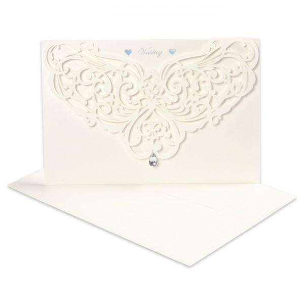 Doppelkarten+Umschlag Wedding 5 Sets cremefarben Perlglanz, Einlegeblatt&Strass, Karte 12x17,7cm