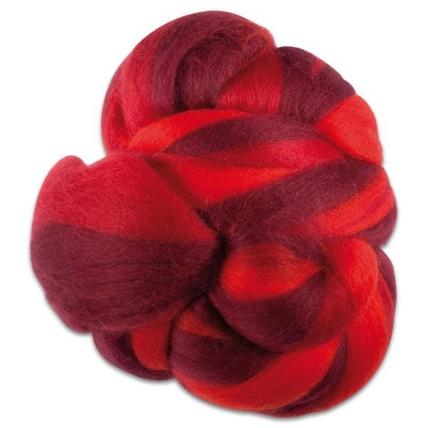 Multicolor-Merinowolle fein 100g Rottöne 100% Wolle, ca. 21mic