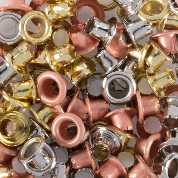 Ösen Metall 5mm ca. 100 St. silber-/gold-/bronzef. passende Ösenzange Art.-Nr. 50265165