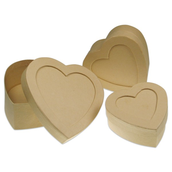 Pappschachteln Herzen Deckel mit Fenster 3er-Set h4,5cm 10x10cm; h5cm 12x12cm; h5,5cm 14x14cm