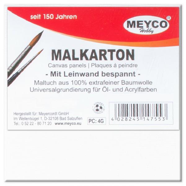 Malkarton mit Maltuch 3mm stark 10x10cm weiß Baumwolle, grundiert