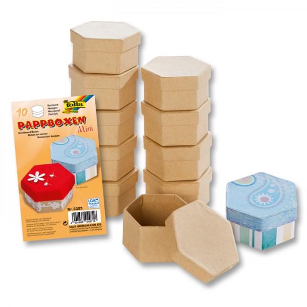 Pappschachteln Mini 7,5x6,5x4cm 10 St. sechseckig