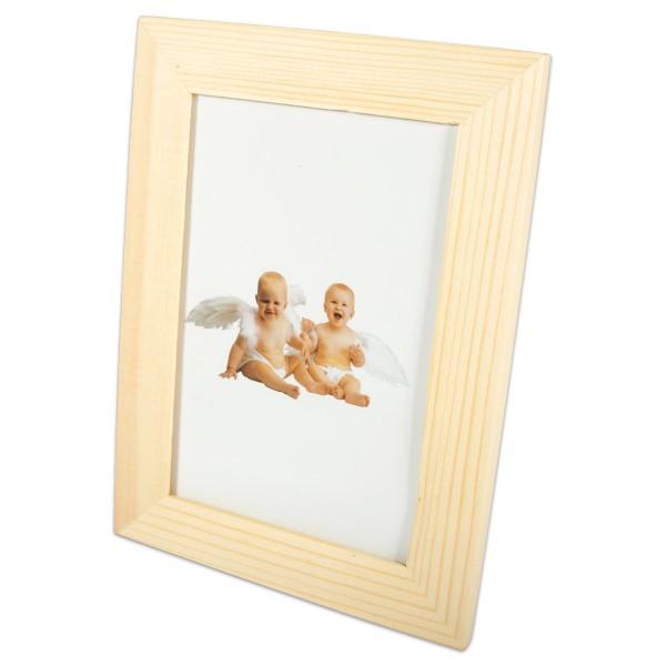 Bilderrahmen Holz mit Glasscheibe 16x12x1cm natur Ausschnitt 12x8mm, mit 3 Metallhaken