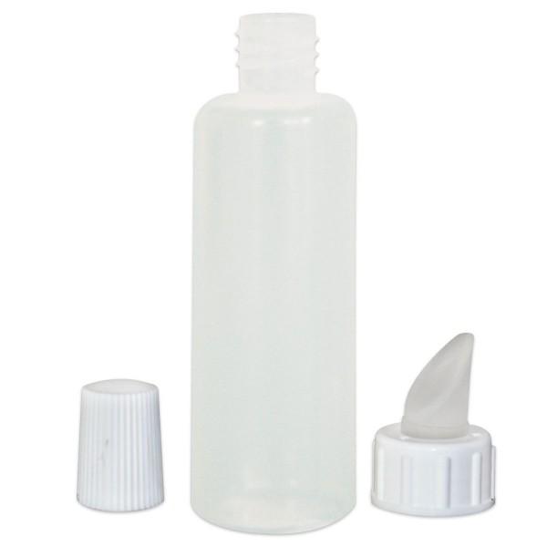 Kunststoffflasche mit Gummiverstreichverschluss 100ml rund weiß, mit Abdeckkappe
