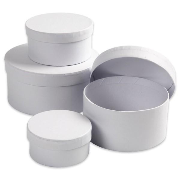 Geschenkboxen Karton 4-teilig rund weiß 8x4cm bis 14x7cm