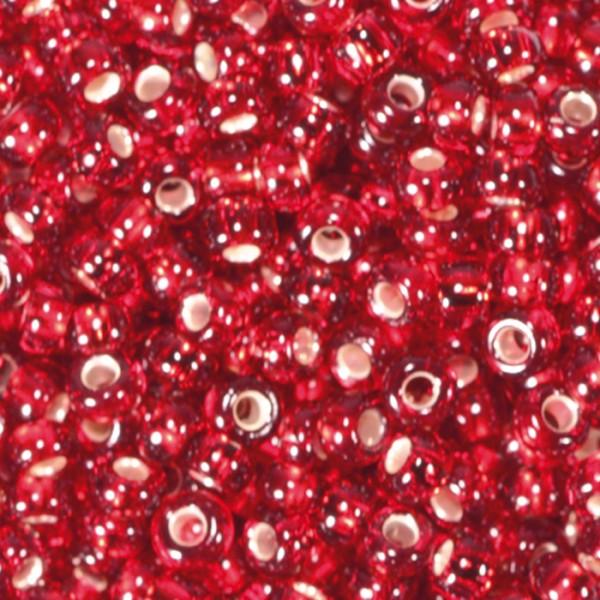 Rocailles transparent 2,6mm 17g altrosa Silbereinzug, Glas, Lochgr. ca. 0,9mm