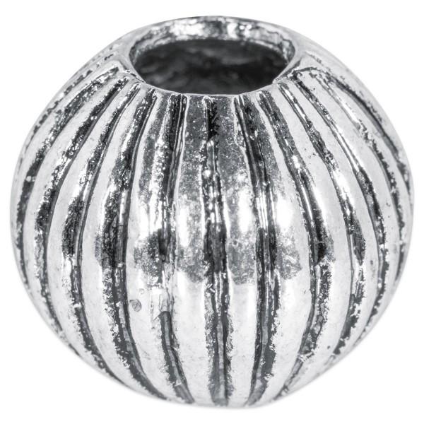 Großlochperle Streifen ca. 13mm altplatinfarben Metall, Lochgr. ca. 4mm