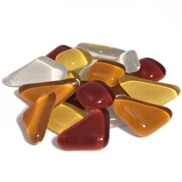 Mosaik Soft-Glas polygonal 200g braun mix 5-20mm, 4mm stark, ca. 130 Steine