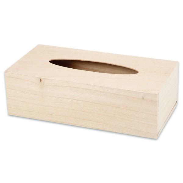 Kosmetiktücherbox Holz 27x14x8cm natur Schiebeboden, ovaler Schlitz
