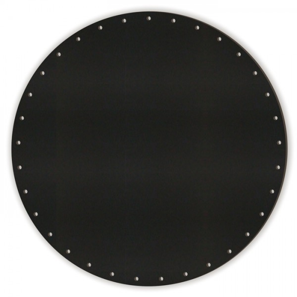 Korbflechtboden MDF 8mm Ø30cm rund schwarz 45 Bohrungen 3mm, beids. m. Kreidetafellack beschichtet