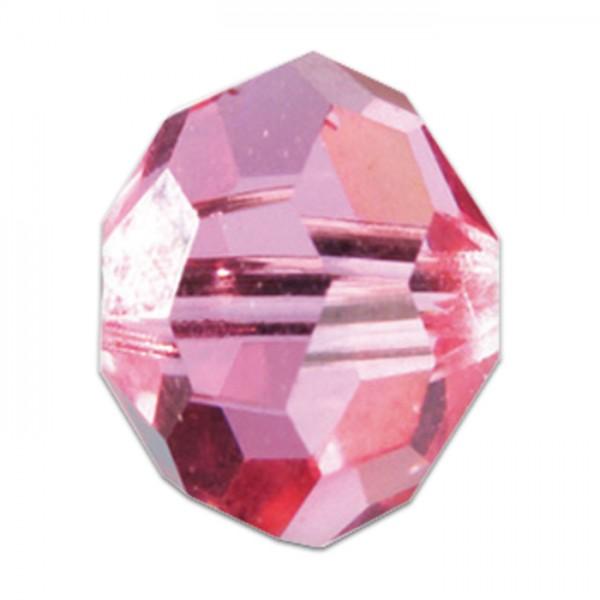 Facettenschliffperlen 10mm 18 St. light rosé transparent, feuerpoliert, Glas, Lochgr. ca. 1,5mm