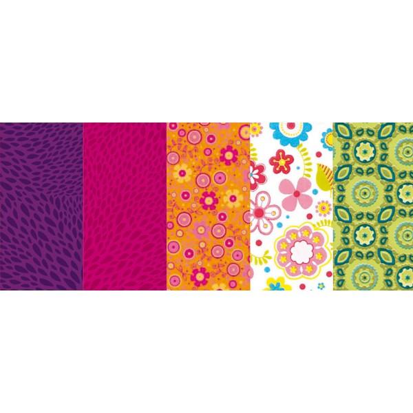 Decoupagepapier Pocket 5 Bl. Set 01 von Décopatch, Bogen je 30x40cm, 20g/m²