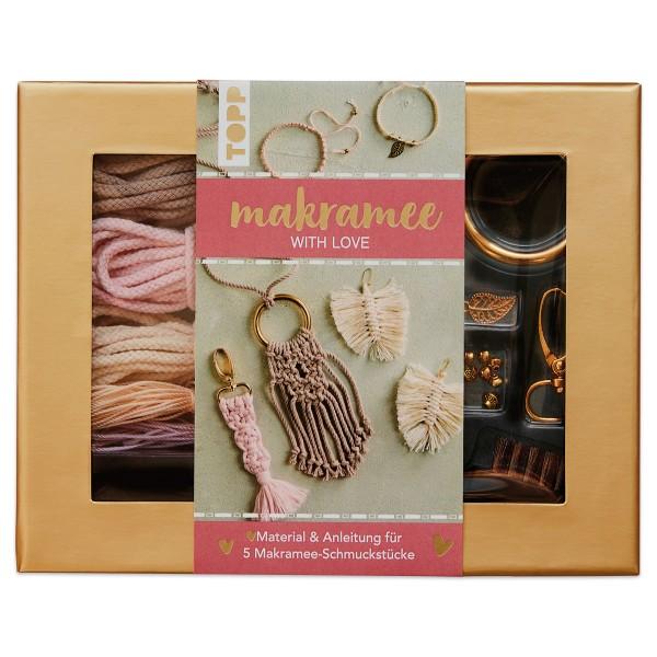 Makramee-Schmuckset With Love rose/natur