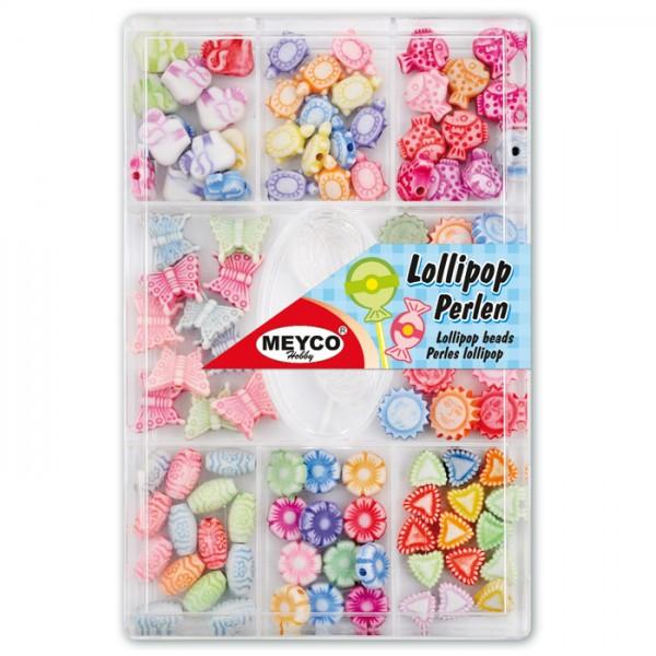 Lollipop-Perlen-Mix ca. 5-10mm 17g pastell ca.100 St., Kunststoff, Gummiband, Lochgr. ca. 1mm