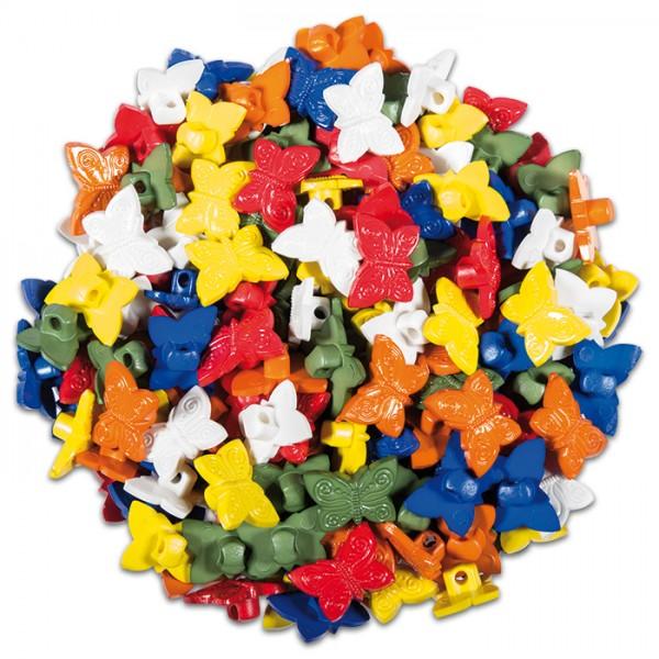 bunte Knöpfe 10x13mm 40g Schmetterlinge Kunststoff, Lochgröße ca. 2-3mm