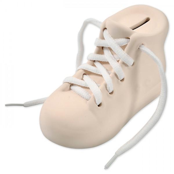 Spardose Stiefel Terrakotta 14x6,5x9cm weiß