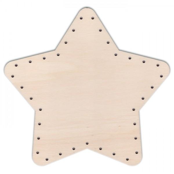 Korbflechtboden Holz 4mm Ø26,5cm Stern natur 45 Bohrungen 3mm