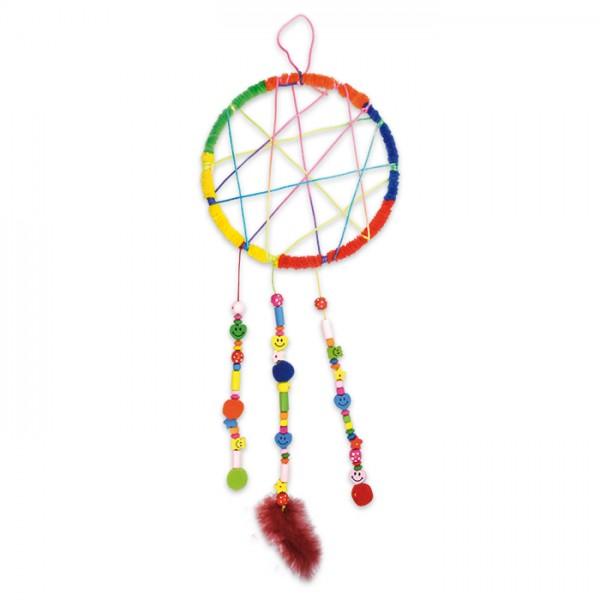 Traumfänger-Set Ø 20cm bunt Komplettset mit Ring, Perlen, Schnüren, Federn