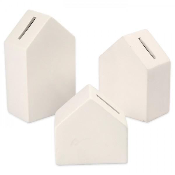 Spardosen Häuser Terrakotta 9-15cm 3 St. weiß 3,5cm dick