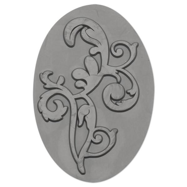 Reliefeinlage Ornament 70x47mm oval Kunststoff, für Seifengießformen Art.-Nr. 54960436