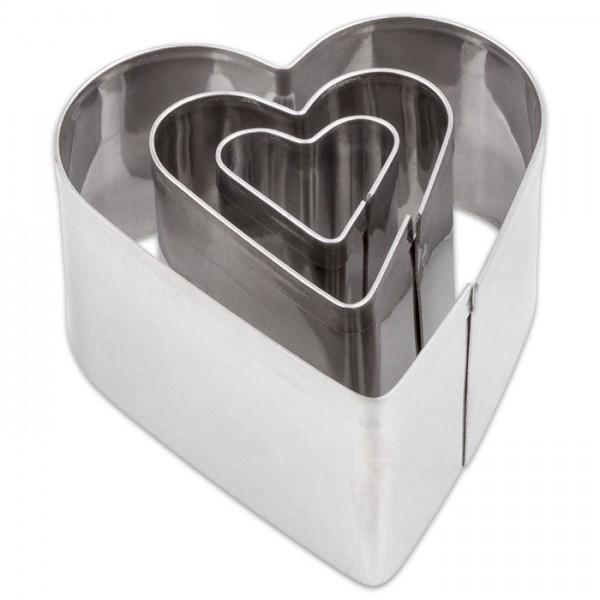 Ausstechformen Metall ca. 2-4cm 3 St. Herzen