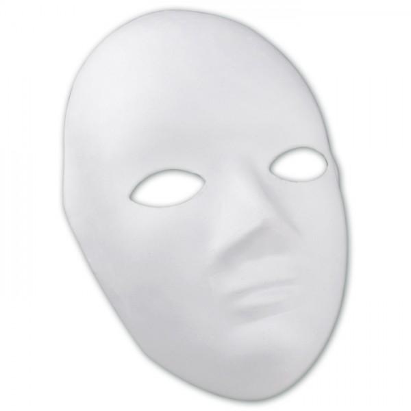 Maske Gesicht Pappmaché ca. 22x17cm weiß